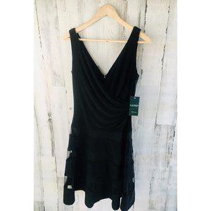LAUREN Ralph Lauren EVENING Black Party Dress Mesh
